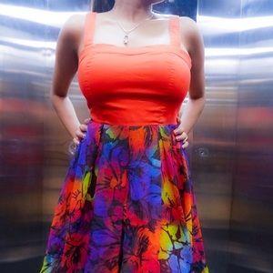 Charlotte Russe Mini dress in tangerine and print